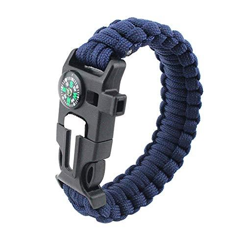 MansWill 5 en 1 pulsera de supervivencia, nuevo 7 Core Paracord de emergencia deportes pulsera Gear Kit impermeable brújula, silbato de rescate, iniciador de fuego multi-herramienta Wilderness aventura accesorios, Hombre, azul marino