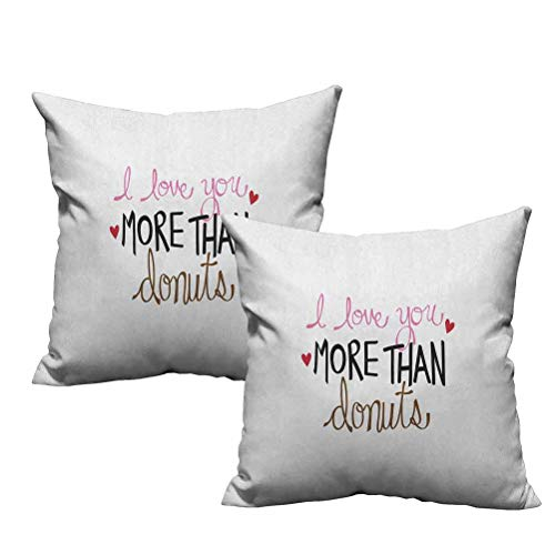 Two Piece Throw Pillow Covers Typography Design with Graphic Donut Sprinkles and Affectionate Phrase 12'x12',Durable Decorative