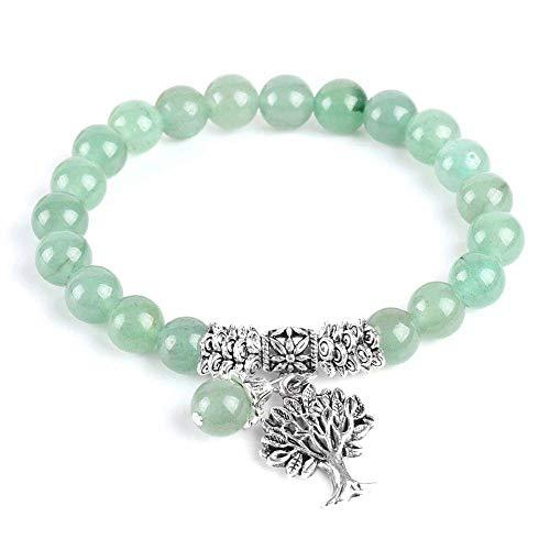 Meditación Aventurina Verde Pulseras De Mujer Piedra Natural Yoga Mala Oración Rosario Cuentas Reiki Árbol De La Vida