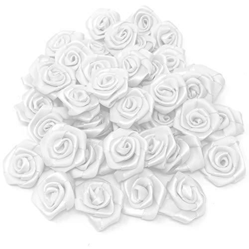 25 x Orange Ruban Satin Fleur Rose Couture Craft Mariage Décoration Ornements