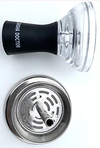 ShishaDoctor  Hookah/Shisha Bowl Silicone Glass Design + Heat Management System (Without Handle) - Hookah Bowl Funnel Style Shisha Head
