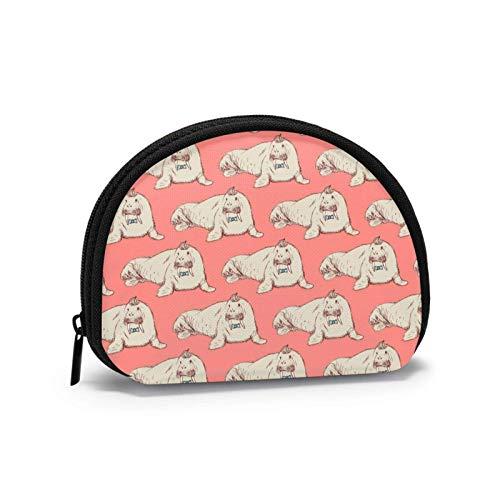 Genderfluid Flag Travel Shell Cosmetics Storage Bags Coin Purse Change Wallet for Women with Zipper-WalrusCartoonChubby-OneSize