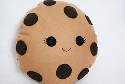Happy Chocolate Chip Cookie with eyelashes Cushion - Cute Pillow - Smiling Biscuit Pillow - Plushie Cookie - Kids Room Decor - Kawaii Cushion - Girl Bedroom Decor