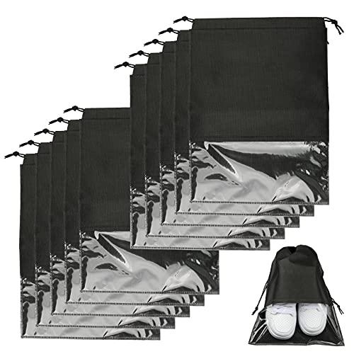 10 bolsas para zapatos a prueba de polvo para viajes en casa, con ventana y cordón para zapatos y botas de temporada.