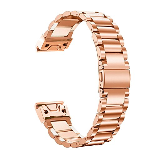 Fenix 5S Watch Band, YOOSIDE 20mm QuickFit Stainless Steel Metal Replacement Watch Band Strap for Garmin Fenix 5S/5S Plus,Fit Wrist 4.7-8.2 inch (Rose Gold)