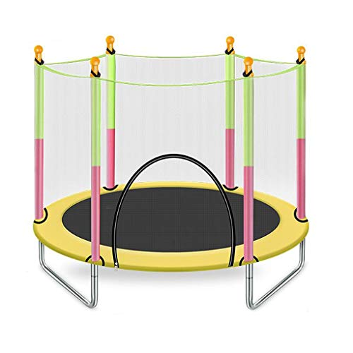 MBZL 4.6FT Trampoline for Kids-Trampoline with Net Safety Enclosure Springs Gymnastics Equipment (Color : Yellow)