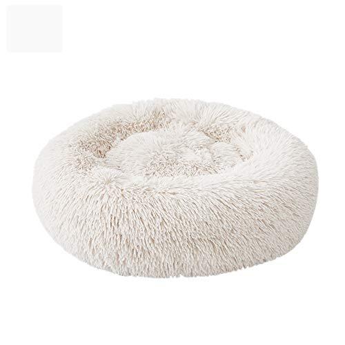 NIBESSER Hundebett Tierbtt Katzenbett Hundesofa Katzensofa Kissen Flauschig, Weich u. Waschbar für Katzen Hunde (Durchmesser 60cm, beige)