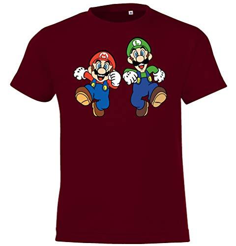 Kinder T-Shirt Modell Mario & Luigi, Gr. 130/140 (10 Jahre), Burgundy