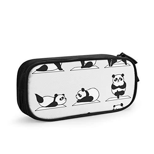 Panda Yoga - Estuche para lápices de gran capacidad, portátil, con cremallera, suministros de oficina para estudiantes