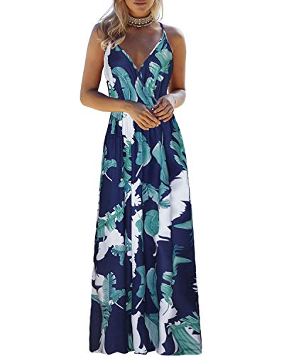 OUGES Womens Summer Deep V Neck Floral Adjustable Spaghetti Strap Beach Maxi Dress(Floral02,XL)