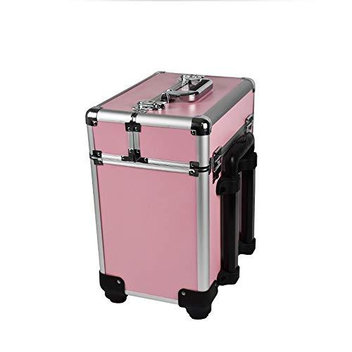 Make up Kosmetikkoffer Professionelle Trolley Tragbare Große Aufbewahrungsbo Nail Tattoo Friseursalon Beauty Tool Box für Nail Hair Salon Schmuck (Color : Pink, Size : One Size)