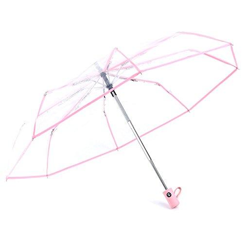 TOOGOO Paraguas Transparente Paraguas automatico para Lluviaautomatico Compacto Plegable Estilo a Prueba...
