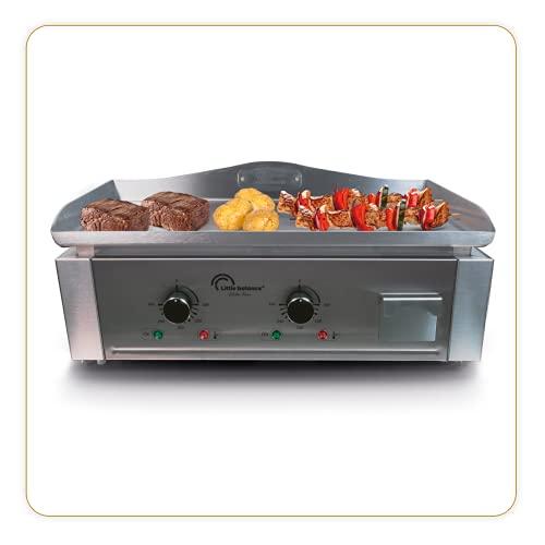 LITTLE BALANCE 8476 Aquitaine Pro, Plancha professionnelle électrique, 2 zones de cuisson indépendantes, Puissance 3500 W, Tout Inox