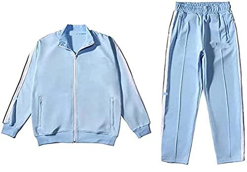 Yesgirl Herren Jogginganzug Trainingsanzug Sportanzug Fußball Sporthose Hoodie Hose für Gym Warm Tracksuit Hellblau M
