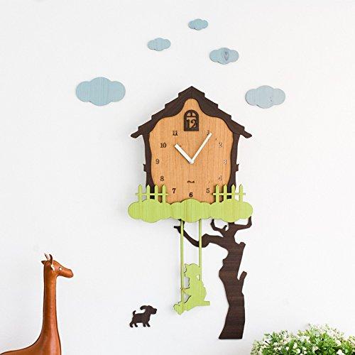 Lelie & haar vrienden - Swing Wandklok Houten Klok Tuin Buiten Creatieve DIY 3D Cartoon Huis Boom en Jongen Quartz Klok Mute Muursticker Decoratie Kid Room Slaapkamer Kleuterschool Met haak en batterij