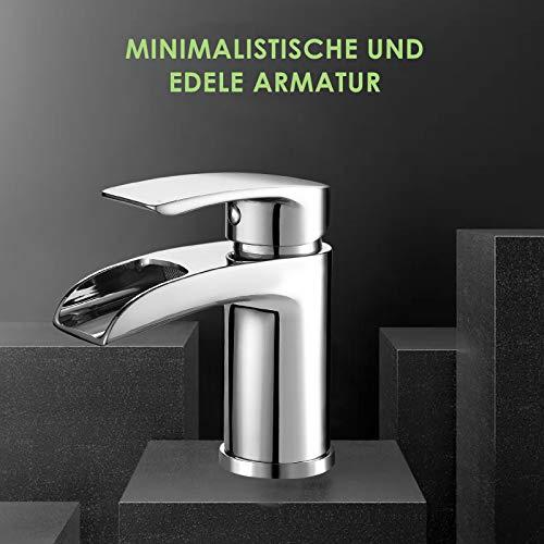 Design Kurzer Wasserfall Waschtischarmatur Einhebelmischer-Waschtischbatterie Bad Armatur Wasserhahn für Waschbecken - 6
