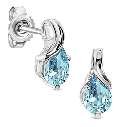Miore earrings for women in 9 kt 375 white gold with pear shape sky blue aquamarine