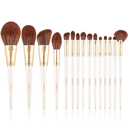 Pinceaux De Maquillage 15 Pcs Pinceau De Maquillage Set, Maquillage Débutant Universel Fibres Artificielles Brosses Pinceau Poudre, Contour Angled, Kabuki, Fard À Paupières Blending Pinceau,Blanc
