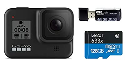 GoPro HERO8 Black — Waterproof Action Camera with Touch Screen 4K Ultra HD Video 12MP Photos 1080p Live Streaming Stabilization with Lexar 128GB U3 Memory Card and Ritz Gear Memory Card Reader by GoPro