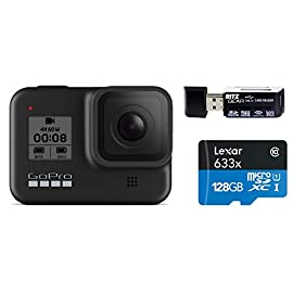 GoPro HERO8 Black — Waterproof Action Camera with Touch Screen 4K Ultra HD Video 12MP Photos 1080p Live Streaming… 1 GoPro Hero 8 all Accessories + Full USA Warranties PREMIUM RITZ CAMERA BUNDLE INCLUDES:GoPro Hero 8 Action Camera, Lexar 128GB High-Performance U3 MicroSD Video Memory Card, and Ritz Gear Card Reader STREAMLINED DESIGN - The re-imagined shape is more pocketable, and folding fingers at the base let you swap mounts quickly. A new side door makes changing batteries even faster, and the lens is now 2x more impact-resistant. HERO8 BLACK MODS - Vloggers, pro filmmakers and aspiring creators can do more than ever imagined – with quick-loading accessories like flashes, microphones, LCD screens and more. Just add the optional Media Mod to up your capture game.