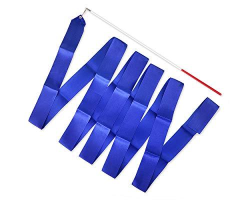 SCSpecial Cintas de Baile con varitas Cinta de Gimnasia rítmica de 4 m Serpentina de Baile para niños Baton Twirling - Azul