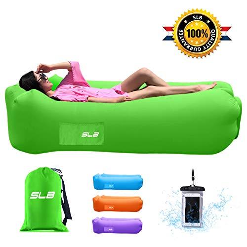 SLB Aufblasbare Liege, wasserdicht, mit Kopfstütze, tragbar, luftgefüllt, mit Aufbewahrungstasche für Camping, Garten, Strand und Pool (grün)