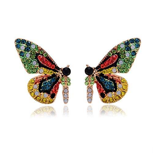 BQZB tienda de aretes Exclusivo original nuevo color de cristal completo mariposa ala uña oreja con pendientes de temperamento simple y aretes
