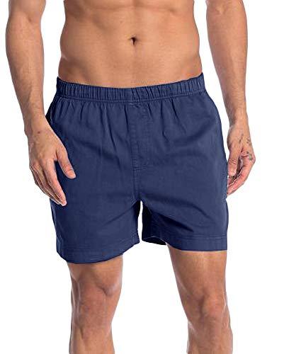 Gemijacka Leinen Shorts Herren Kurze Hose Sommer Schlafanzughose Leicht Boxershorts