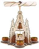 Brubaker Weihnachtspyramide Kathedrale 29 cm - Maria, Josef und Jesus - 2 Etagen - Teelichtpyramide mit 4 Teelichthaltern aus Metall - Holz Natur - Geschnitzte Figuren