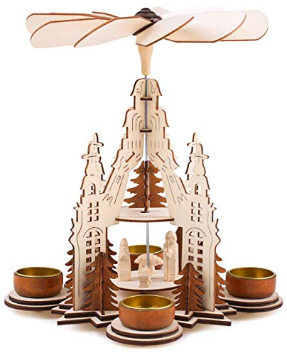 BRUBAKER Christmas Pyramid - Nativity Scene with Jesus in a Manger - Designed in Germany
