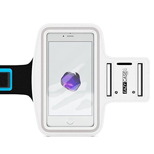 EAZY CASE Sport Armband für Smartphones bis 5,5 Zoll, schweißfest I Sportarmband Unisex, Sporthülle, Handyhülle, Armtasche mit Kopfhöreröffnung & Schlüsselfach, Weiß