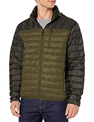 Hawke & Co Men's Lightweight Packable Down Jacket | Rain and Wind Resistant Shell and Hidden Hood, Olive, Large from Hawke & Co