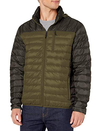 Hawke & Co Men's Lightweight Packable Down Jacket | Rain and Wind Resistant Shell and Hidden Hood, Olive, Large
