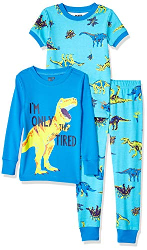 Spotted Zebra 3-Piece Snug-Fit Cotton Pajama Pyjama Set, Dinoland, Medium (8)