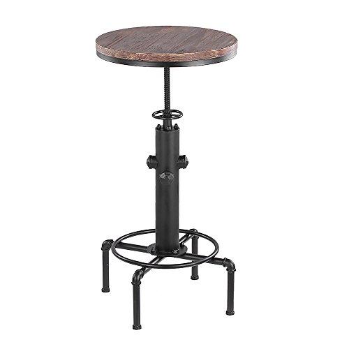 IKAYAA Pinewood Top Round Pub Bar Table Table de Table Réglable en Hauteur Bistro Table Industrial Pipe Style Cuisine Table à Manger
