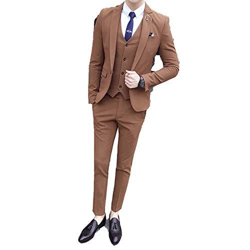 Outwear 3 Pcs Mens Suits S Business Tuxedos Slim Fit Homme Mariage Wine Red Brown Trajes De Hombre Heren Kostuums-Khaki-XXXL