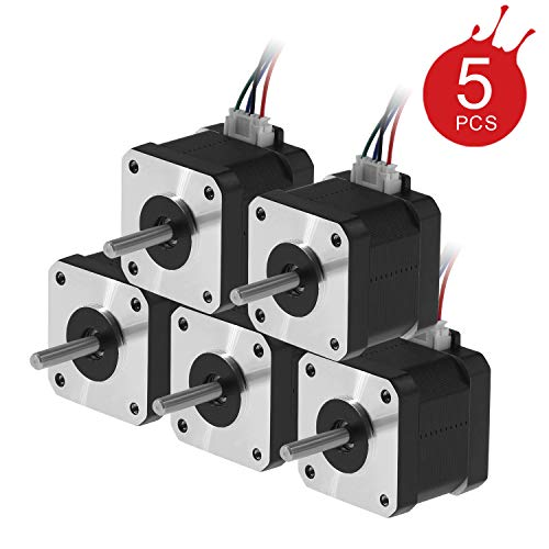 Usongshine Nema 17 Stepper Motor 42BYGH 1.8 Degree 38MM 1.5A 42 Motor (17HS4401S) 42N.cm (60oz.in) 4-Lead with 1m Cable and Connector for DIY CNC 3D Printer (Pack of 5)