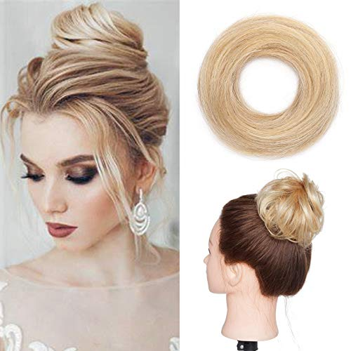 Silk-co Ciambella per Chignon Extension Capelli Veri Lisci Elastico Voluminoso Coda Magic Hair Bun Updo Crocchia 23g #18P613 Biondo Cenere & Biondo Sbiancante
