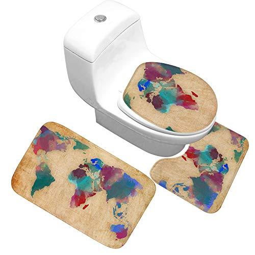 YJ-foryou Mapa del Mundo Impreso baño Alfombra de baño Alfombra Pedestal Tapa del Inodoro Cubierta Alfombra de baño Antideslizante Conjunto Agua Absorbe alfombras de baño