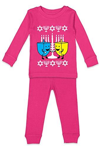 Happy Dreidels - Ugly Hanukkah Youth Shirt & Pants Set (Pink Top/Pink Bottoms, Youth 8)