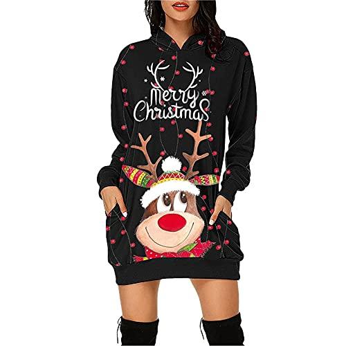 Women Sexy Christmas Sweater Dress, Long Sleeve Pockets Hooded Mini Dresses, Casual Fashion Printing Fall Winter Blouses Black