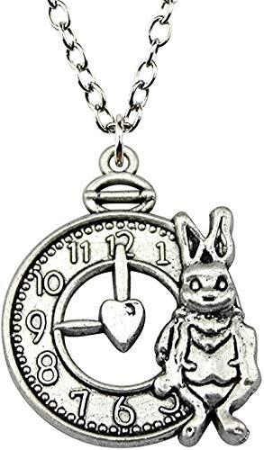 WYDSFWL Collar 31x25mm Color Plata Antigua Conejo y Reloj Colgante Collar joyería para Mujer