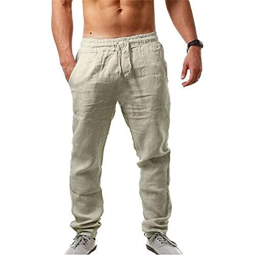 Godoboo Pantalones Deportivos para Hombre Pantalones Jogger Deportivo Pantalones de Lino de Algodón para Hombres Entrenamiento Fitness Casual Cintura Elástica Ajustable