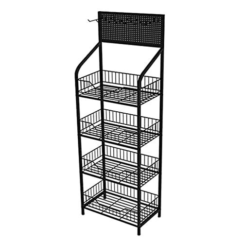 jojofuny Estantería de Supermercado de Metal Estantería de Exhibición Multicapa Estantería de Aperitivos de Tienda de Conveniencia