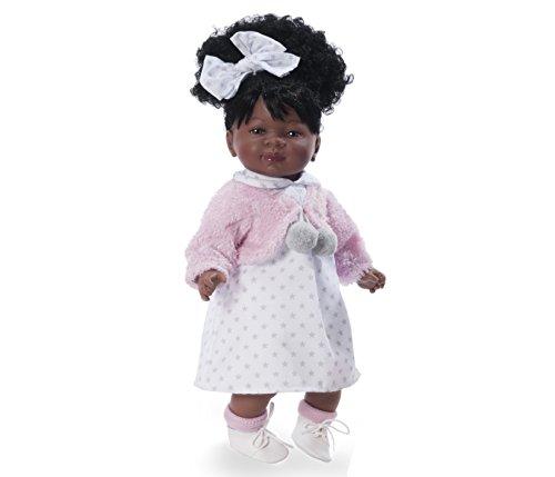 Nines D'oniel - Bambolotto di colore 45cm - vestito con fantasia a stelle bianco e grigio, giacchettino rosa, scarpe in pelle bianca