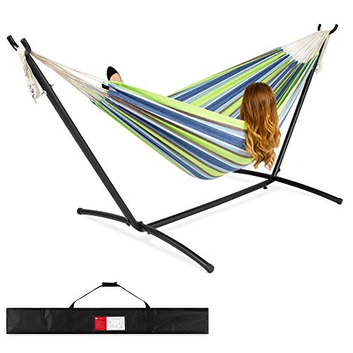 Best Choice Products 2-Person Indoor Outdoor Brazilian-Style Cotton Double Hammock Bed w/Carrying Bag, Steel Stand,...