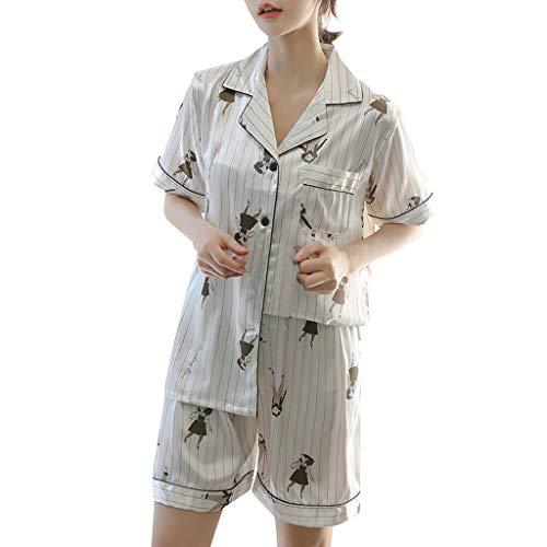 Damen Unterhosen FGHYH Frauen Simulation Silk Printing Pattern Pyjamas Nachtwäsche Nachtwäsche Set(XL, Weiß)