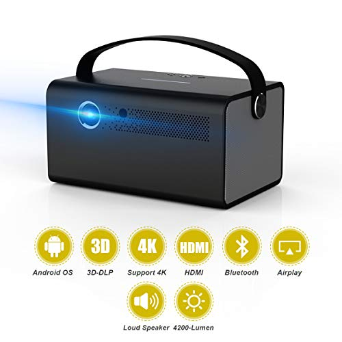 TOUMEI Video Projector 3D DLP Link 2020 New V7 Android 6.0 600ANSI 4500 Lumens Keystone Correction Support 4K Bluetooth WiFi Mirroring for iPhone iPad Android HDMI/USB/TF 2G ROM 16G Flash