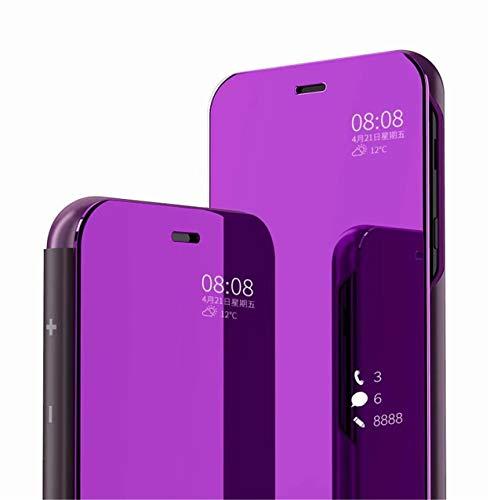 MLOTECH Kompatibel mit Huawei P Smart+ 2019 Hülle,Cover + Panzerglas schutzfolie Flip Transluzent View Miroir Handyhülle Anti-Schock Spiegel Standfunktion Schutzhülle Lila