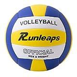 Runleaps Ballon de volley-ball - Doux au toucher - Pour entraînement de plage, extérieur et intérieur - Taille 5
